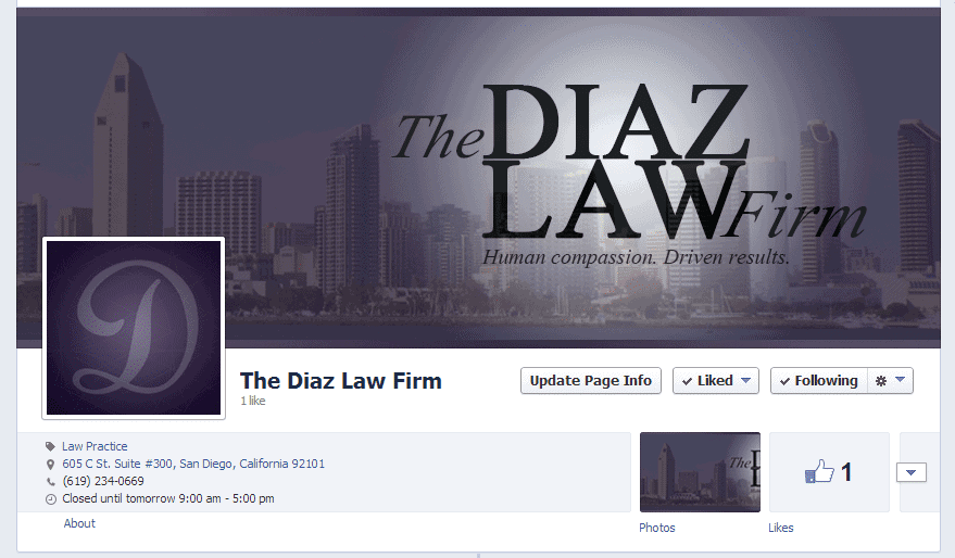 Law firm fb page
